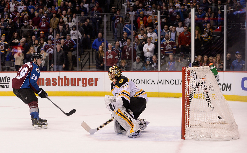 . DENVER, CO - JANUARY 21: Colorado Avalanche center Nathan MacKinnon (29) scores a goal during the shoot out on Boston Bruins goalie Tuukka Rask (40) January 21, 2015 at Pepsi Center. Colorado Avalanche defeated the Boston Bruins 3-2 in a shoot out. (Photo By John Leyba/The Denver Post)