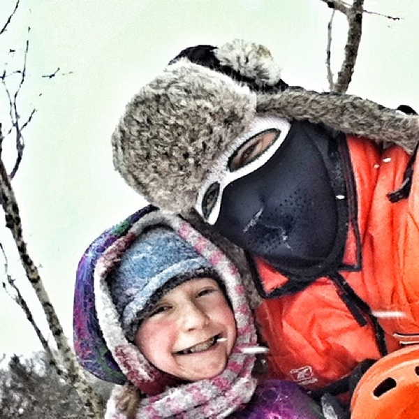 Bundled up as we can be for some New Year's Day sledding in #Saugatuck