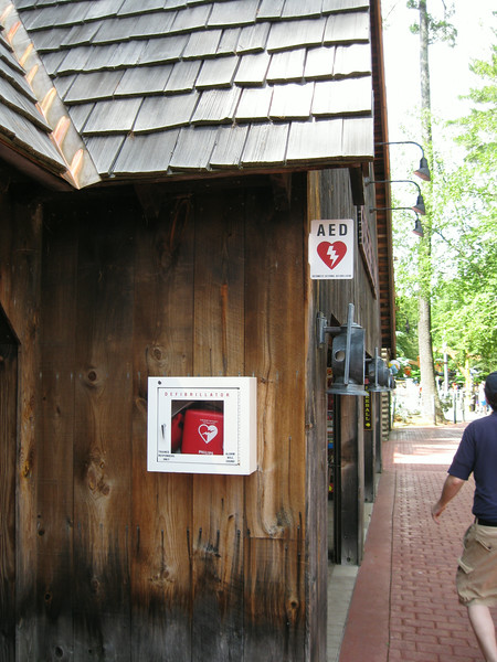 New AED at the Wooden Nickel Arcade.