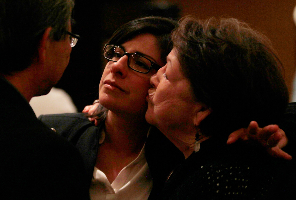 . Santa Clara County Board of Supervisors candidate Teresa Alvarado gets a kiss from mom Blanca Alvarado as they waiting for final results at Flames Restaurant in downtown San Jose, Calif., Tuesday, July 30, 2013. ( Josie Lepe/Bay Area News Group)