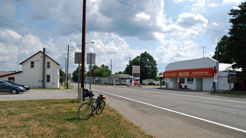 Across the street from the Argyle Township Hall