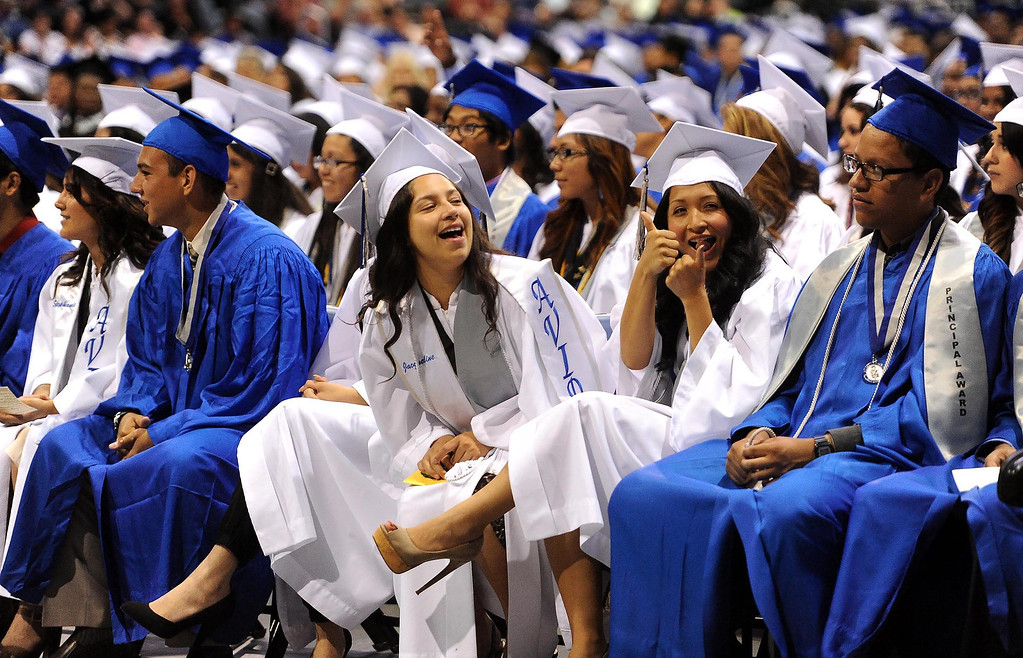 . Students prepare to receive diplomas during Rialto High School Commencement Exercises held at Citizens Bank Arena in Ontario June 2, 2013.  The school graduated 570 seniors.  GABRIEL LUIS ACOSTA/STAFF PHOTOGRAPHER.