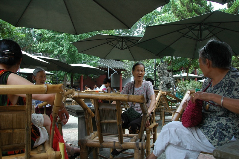 Chinese Women at Tea Garden - Chengdu, China