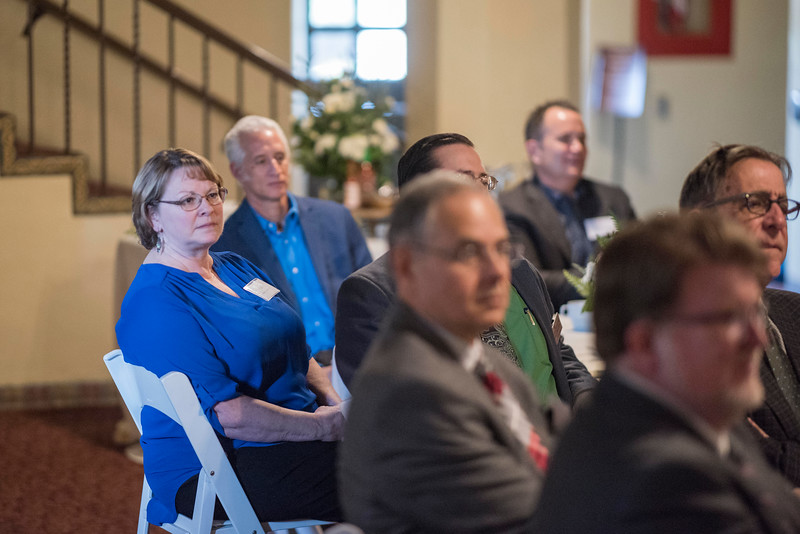 NS Distinguished Alumni Valerie Lucero (NURS, '83) and other Distinguished Alumni are recognized during a breakfast with deans and CSAA representative in the Laxson Lobby on Friday, March 9, 2018 in Chico, Calif.  (Jason Halley/University Photographer/CSU Chico)