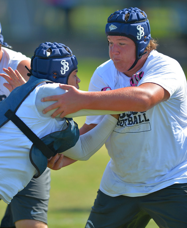 . Two months before their season starts, St. John Bosco football players workout at their school in Bellflower, CA on Monday, June 23, 2014. (Photo by Scott Varley, Daily Breeze)