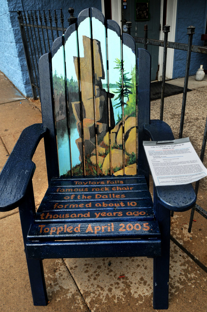 ". ""Devil\'s Chair\"" by Barbara Youns sits outside of Romayne\'s Sports Bar & Grill in Taylors Falls and is part of the Highway 8 Chairs project in Chisago County. (Pioneer Press: Jean Pieri)"