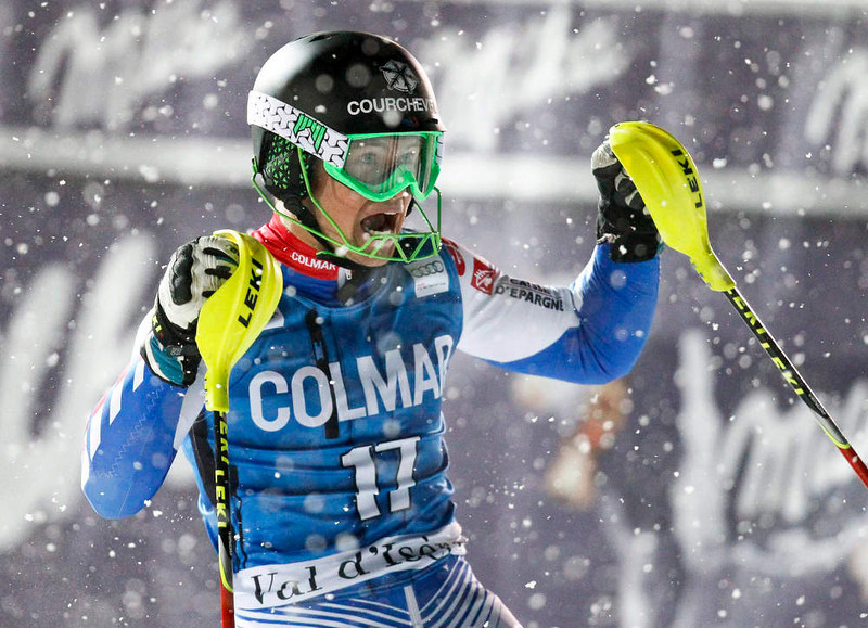 . Alexis Pinturault of France reacts after winning the men\'s World Cup Slalom skiing race in Val d\'Isere, French Alps, December 8, 2012.    REUTERS/Robert Pratta