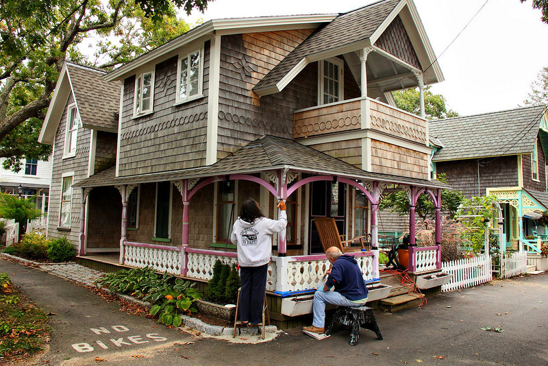 """I asked this friendly gentlemen in the blue sweater how often he re-paints, and his jovial answer was """"I'll be painting the rest of my life!"""" I was only there for two or three hours, but saw at least four houses being painted."""