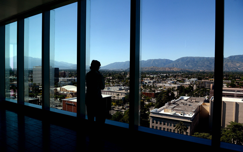 . Floor-to-ceiling windows on the 10th floor of the new San Bernardino Justice Center in downtown San Bernardino, CA, Monday, April 28, 2014. (Photo by Jennifer Cappuccio Maher/Inland Valley Daily Bulletin)