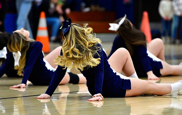 3/1/2019 Mike Orazzi | Staff Newington High School Cheerleaders during the Class LL Second Round of the CIAC 2019 State Girls Basketball Tournament at Newington High School Friday night.