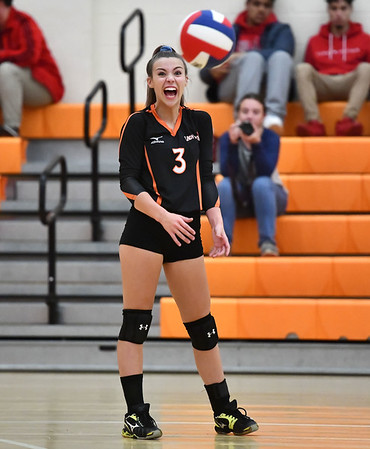 10/18/2019 Mike Orazzi | StaffrTerryville's Abi DellaVecchia (3) during Friday night's girls volleyball match with Goodwin Tech in Terryville.