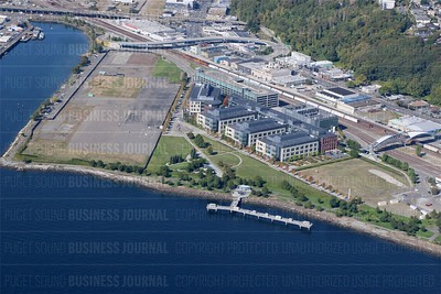 Pictured is an aerial view of the waterfront campus of biotech Amgen which was recently purchased by travel technology giant Expedia, as seen in this file photo from September 15, 2014.