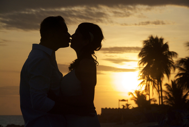 Wedding couple at sunset photographed abroad