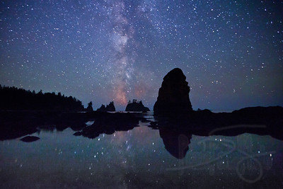 Milky Way and tidepools at Point of Arches, Shi Shi Beach, Olympic National Park, WA.