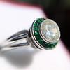 1.30ctw Old European Cut Diamond Emerald Target Ring 27