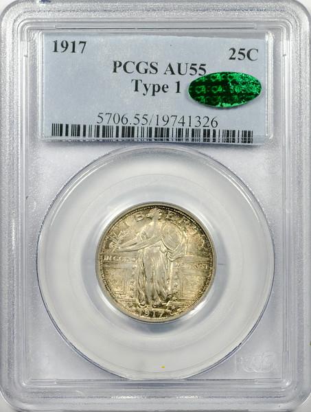 1917 QUARTER DOLLAR - STANDING LIBERTY, TYPE 1 PCGS AU55 CAC Obverse