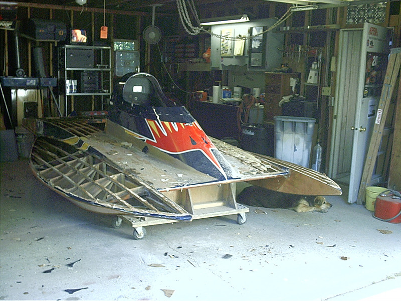 Starboard side deck removed.