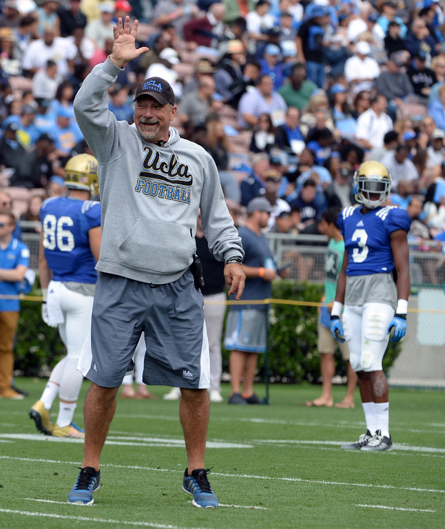 . UCLA Bruins Offensive Coordinator Noel Mazzone during a NCAA college spring football game at the Rose Bowl in Pasadena, Calif., Saturday, April 25, 2015.