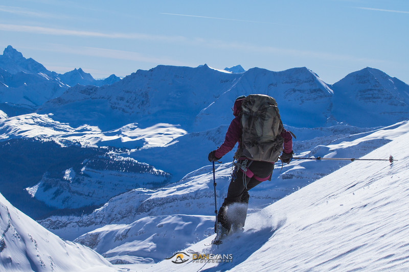 Meghan taking in her first few turns of the year on the Wapta Icefield