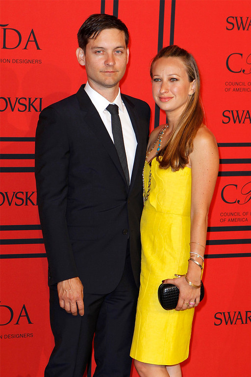 . Actor Tobey Maguire arrives with Jennifer Meyer at the 2013 Council of Fashion Designers of America (CFDA) awards in New York June 3, 2013.  REUTERS/Lucas Jackson
