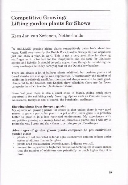 Competetive Showing: lifting garden plants for Shows, by Kees Jan van Zwienen, August 2000 (seminar proceedings)