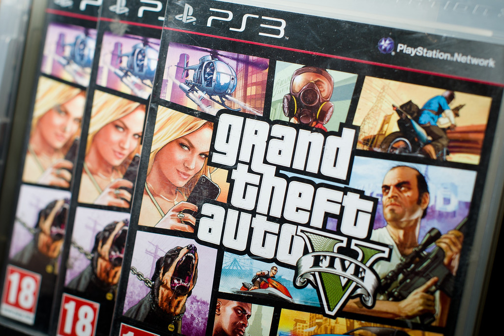 . Close view of the packaging of the console game Grand Theft Auto 5 at the midnight opening of the HMV music store in central London on September 17, 2013.  One enthusiastic fan camped outside the store for three days.          (LEON NEAL/AFP/Getty Images)
