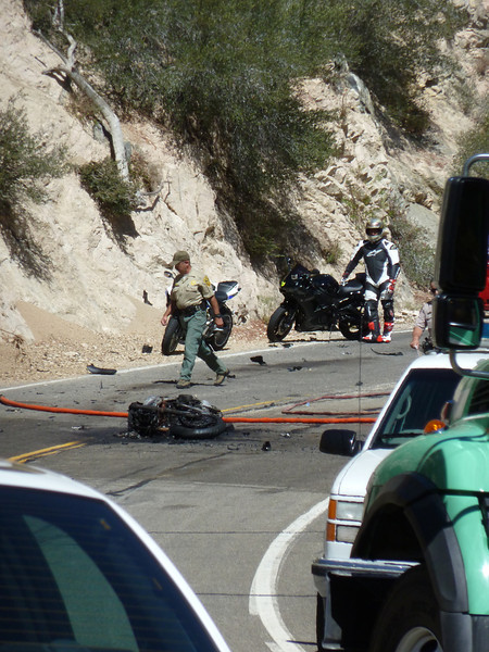 8/26/2012 motorcycle crash/fire on Angeles Crest Highway