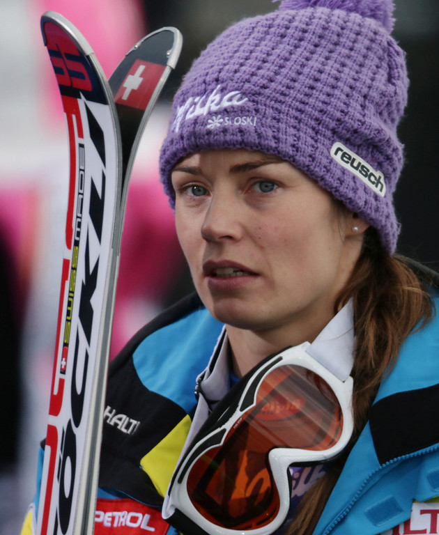 . Slovenia\'s Tina Maze reacts after learning that United States\' Lindsey Vonn crashed during the women\'s super-G at the Alpine skiing world championships in Schladming, Austria, Tuesday, Feb.5,2013. (AP Photo/Matthias Schrader)