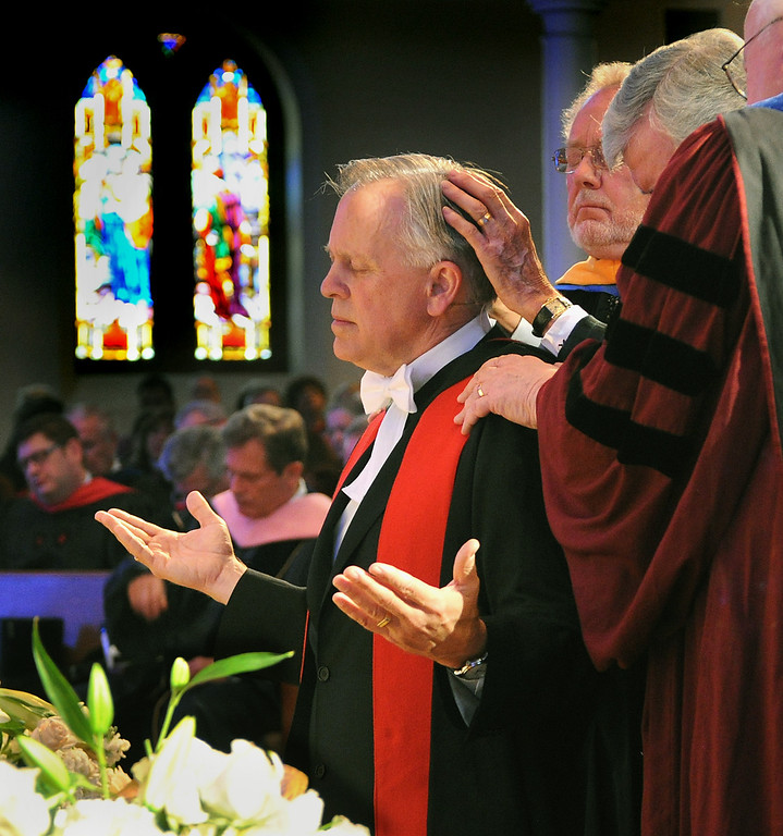 . Anointing and Laying on of Hands with Prayer for the new President Mark Labberton. Fuller Theological Seminary celebrated the inauguration of its Fifth President, Mark Labberton, on Wednesday at First United Methodist Church in Pasadena Wednesday, November 6, 2013.(Photo by Walt Mancini/Pasadena Star-News)