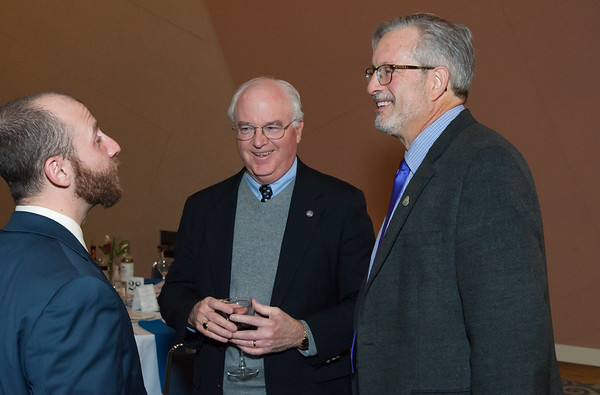 11/15/18 Wesley Bunnell | Staff The Greater New Britain Chamber of Commerce held their 105th Annual Meeting on Thursday night at CCSU. Rep. Bill Petit, R, speaking with fellow guests.