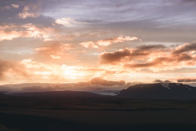 Langjokull Glacier Sunset
