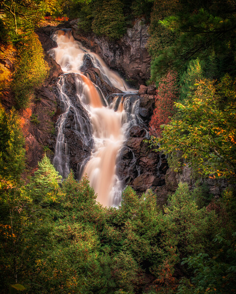 Big Manitou Falls Behind a Green Veil