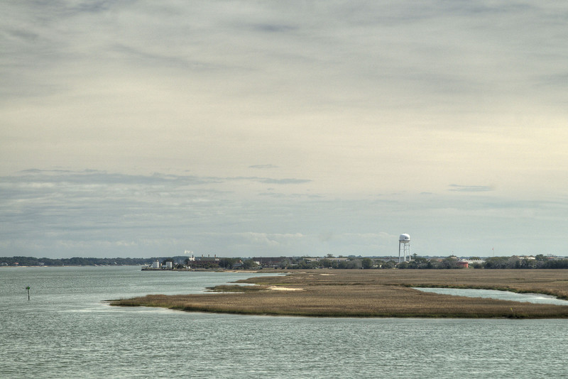 View of nearby Paris Island from the top of the Observation Tower on the Henry Robinson Boardwalk at the Sands Beach in Port Royal, SC on Saturday, February 21, 2015. Copyright 2015 Jason Barnette
