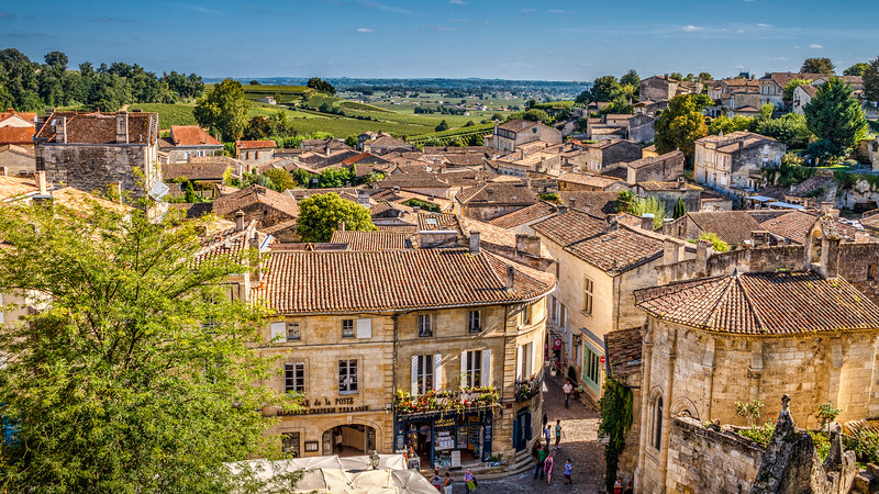 Breathtaking colorful view over Saint-Emilion captured from the Place du Clocher.