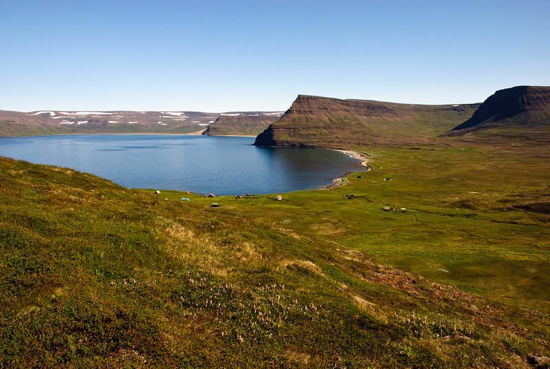 Horft yfir Sæból í Aðalvík