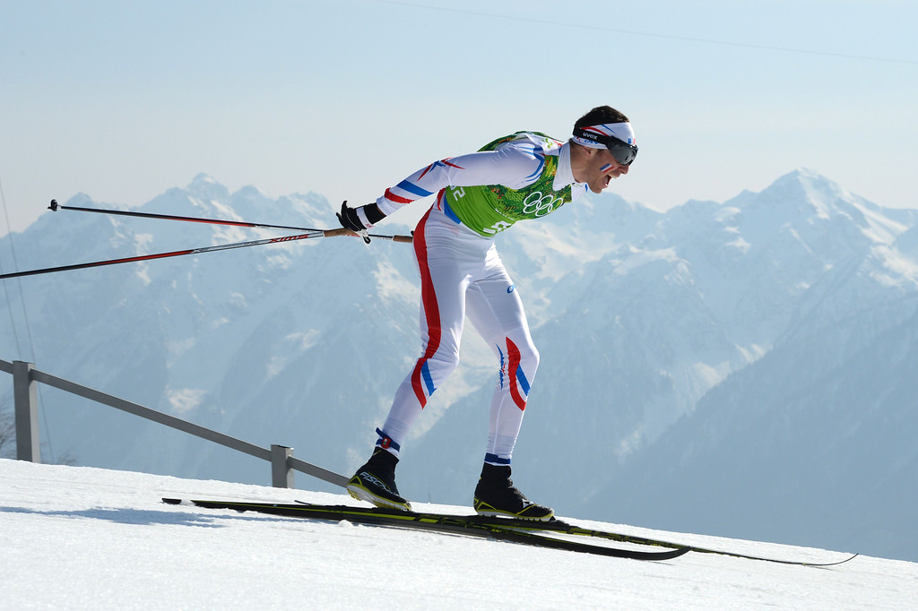 . France\'s Maurice Manificat competes in the Men\'s Cross-Country Skiing 4 x 10km Relay at the Laura Cross-Country Ski and Biathlon Center during the Sochi Winter Olympics on February 16, 2014 in Rosa Khutor near Sochi.  KIRILL KUDRYAVTSEV/AFP/Getty Images