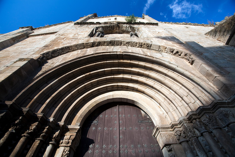 Romanesque facade of the Old Cathedral, town of Plasencia, province of Caceres, autonomous community of Extremadura, western Spain