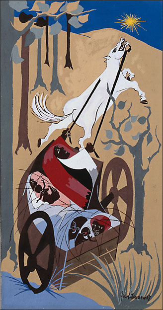 """Jacob Lawrence, """"Harriet and the Promised Land No. 16. Flight III"""" (1967)"""