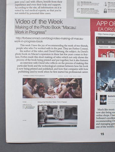 Macau: Work in Progress video review in the Macau Daily Times