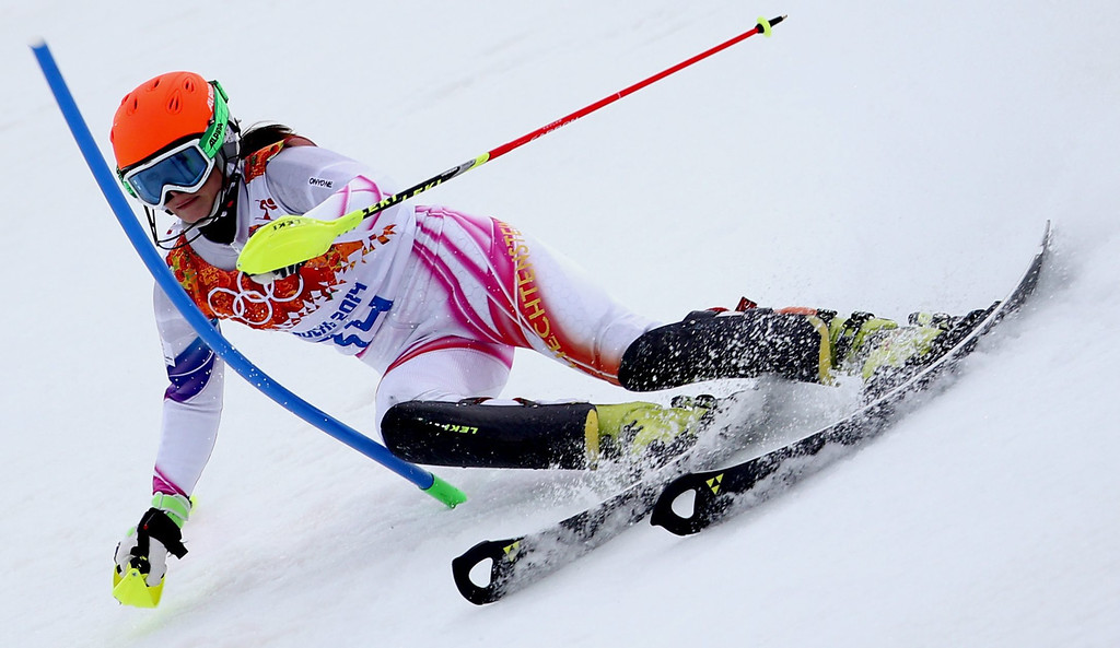 . Marina Nigg of Liechtenstein in action during the first run of the Women\'s Slalom race at the Rosa Khutor Alpine Center during the Sochi 2014 Olympic Games, Krasnaya Polyana, Russia, 21 February 2014.  EPA/KARL-JOSEF HILDENBRAND