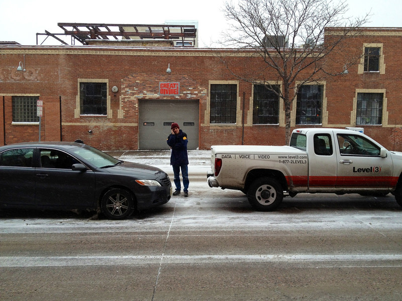 . Fender bender near 22nd and Arapahoe in downtown Denver. (Denver Post Joe Amon)