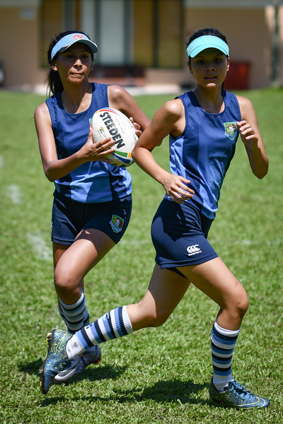 Garden International School in action against The International School of Yangon, Mayanmar during the SEASAC Girls Touch Rugby Tournament, Alice Smith School, Kuala Lumpur 3rd February 2018. Photo by Tom Kirkwood/SportDXB