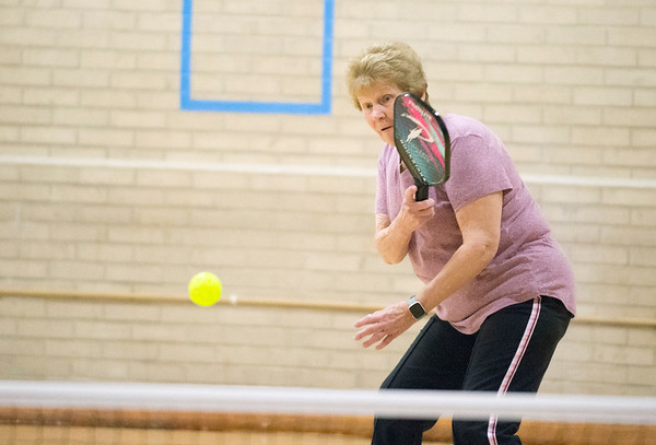 01/06/19 Wesley Bunnell   StaffrrSue Rushkowski plays during a doubles game of pickle ball on Monday afternoon at the Bristol Senior Center.