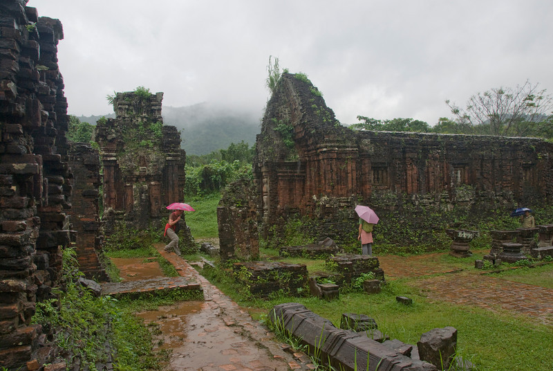 Closer view of the temple ruins in My Son Sanctuary, Vietnam