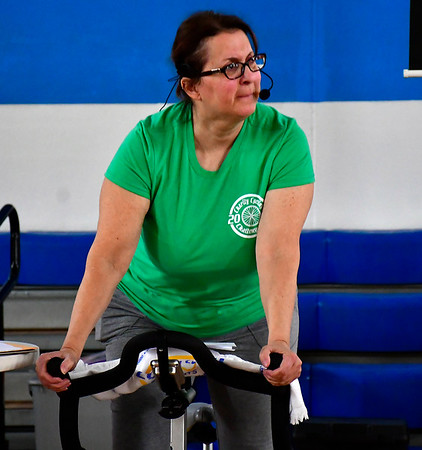 3/3/3019 Mike Orazzi | Staff Charity Cycling Challenge Instructor Cora Hall during Saturday's event held at the Bristol Boys & Girls Club on West Street.