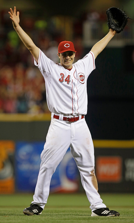 . Cincinnati Reds starting pitcher Homer Bailey reacts after no-hitting the San Francisco Giants in a baseball game, Tuesday, July 2, 2013, in Cincinnati. (AP Photo/Al Behrman)