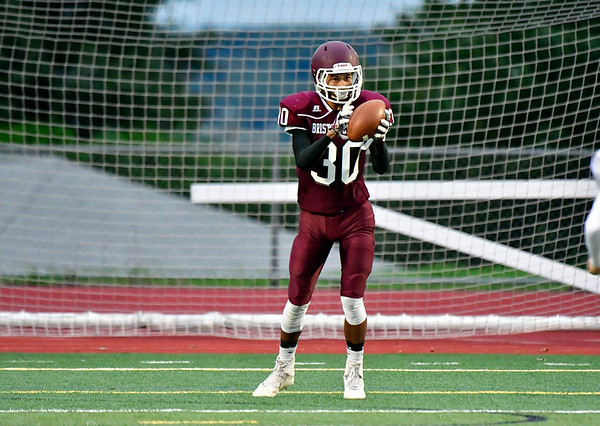 9/28/2018 Mike Orazzi | Staff Bristol Central High School's Isaiah Thillett (30) during Friday night's football game at BC.