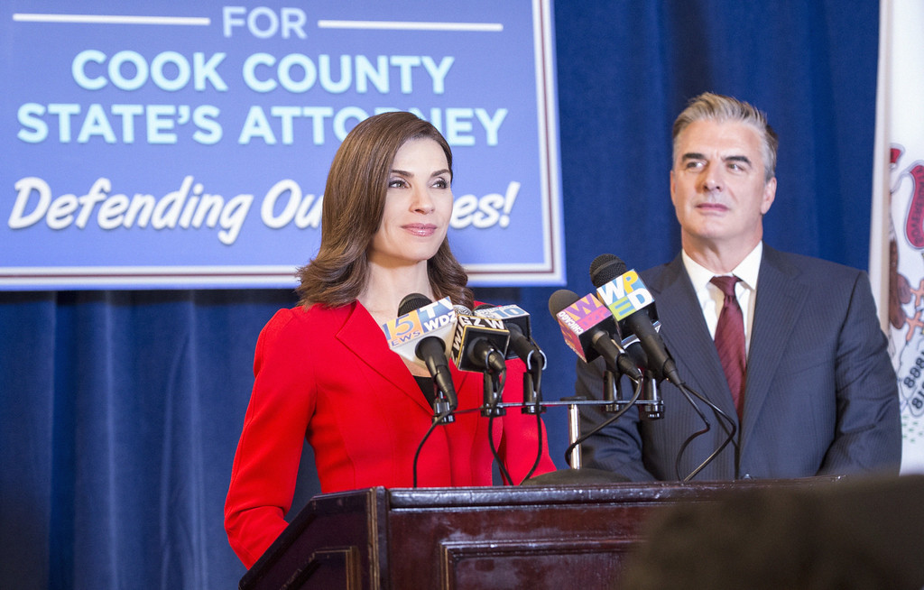 """. In this image released by CBS,  Julianna Margulies as Alicia Florrick, left, and Chris Noth as Peter Florrick, appear in a scene from \""""The Good Wife.\""""  The show was nominated for a Golden Globe for best drama series on Thursday, Dec. 11, 2014. The 72nd annual Golden Globe awards will air on NBC on Sunday, Jan. 11. (AP Photo/CBS, David Giesbrecht)"""