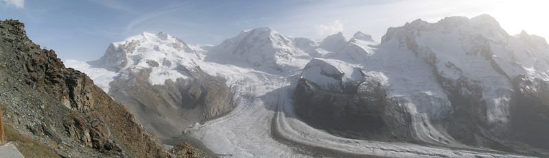 Panorama of the Gorner Glacier valley