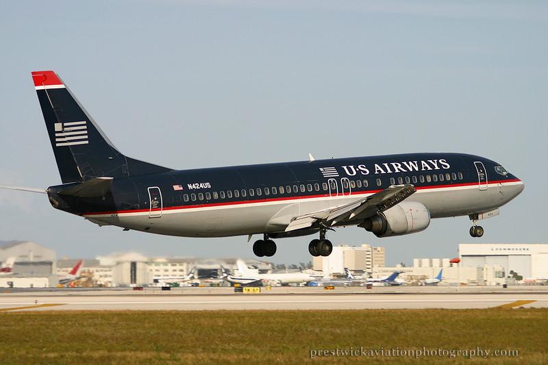 N424US. Boeing 737-401. US Airways. Miami. 030304.